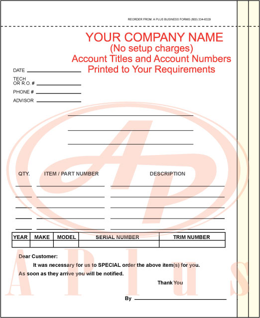 Replacement Parts Order Form Template
