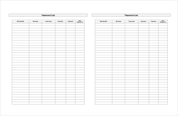 free password log printable (Password tracker) (password template