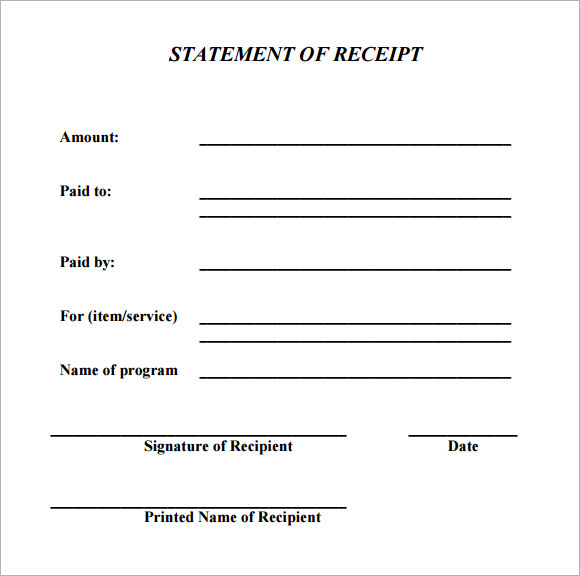 ACKNOWLEDGEMENT OF Payment Receipt , The Proper Receipt Format for