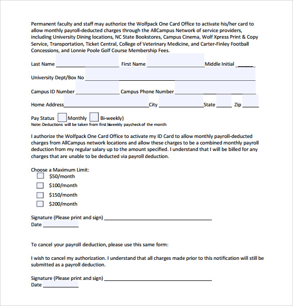 payroll authorization deduction form template wage deduction