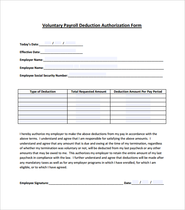 10 Payroll Deduction Forms to Download | Sample Templates