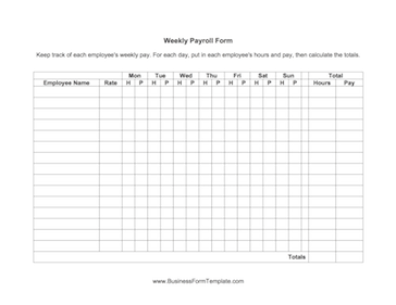 Weekly Payroll Form Template