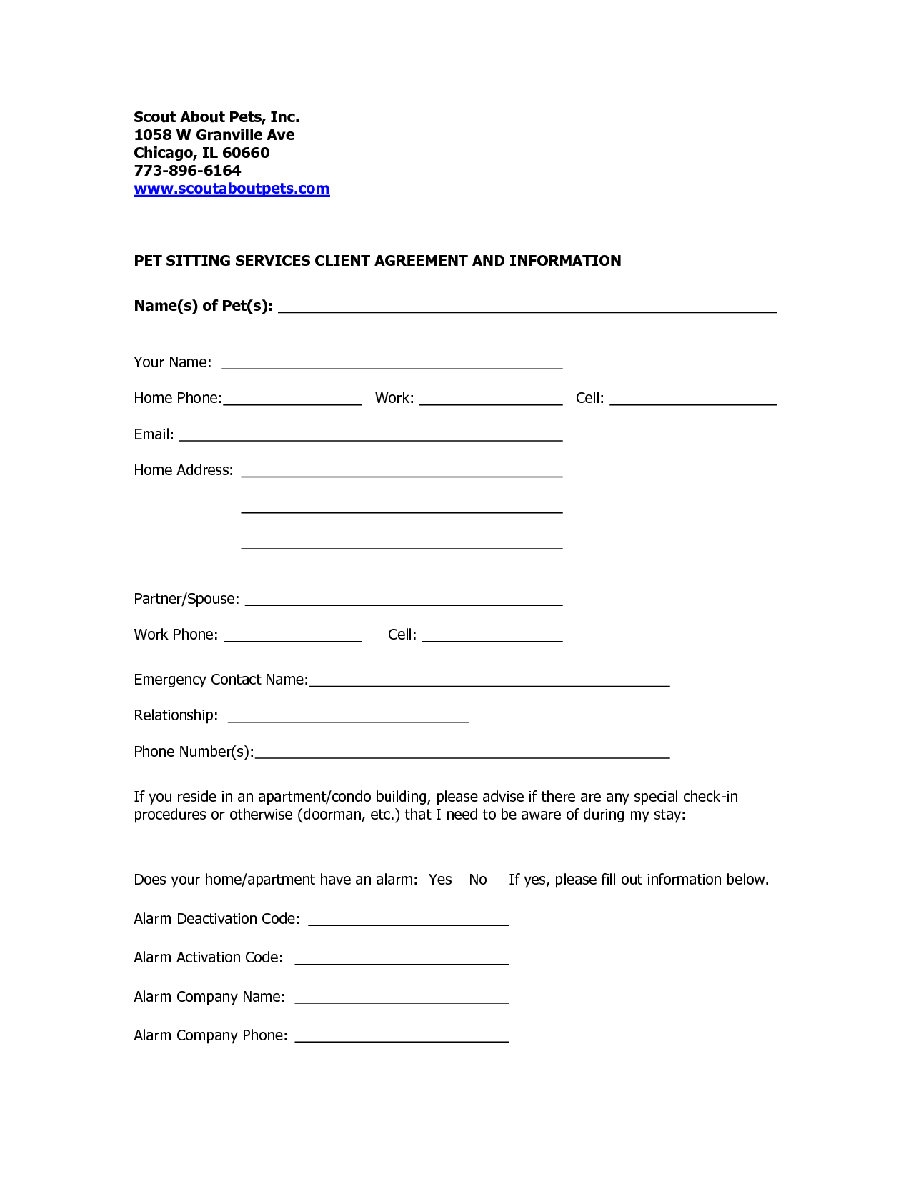 professional pet sitting forms template | Dog Sitting Form   Scout