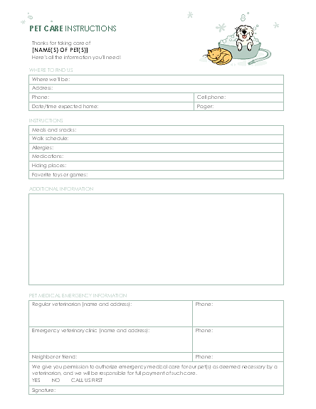 pet sitting form template charlotte clergy coalition