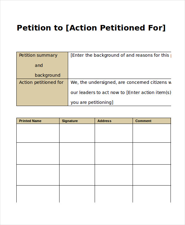 petition form template petition template 23 download free