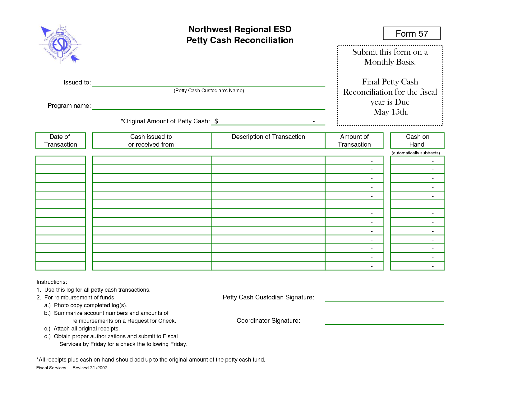 Petty Cash Reconciliation   Fill Online, Printable, Fillable