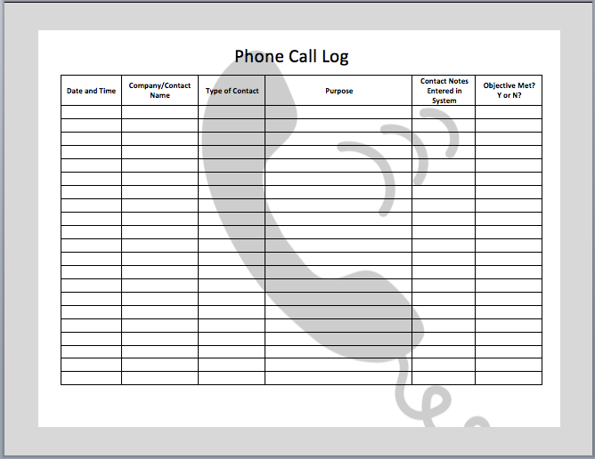 call log template   Gecce.tackletarts.co
