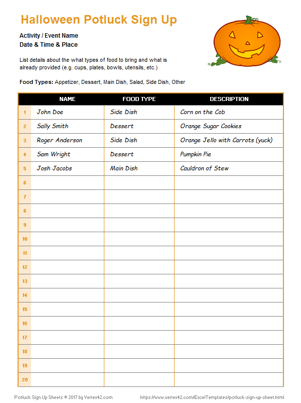 Potluck sign up sheet template effortless signup word 5