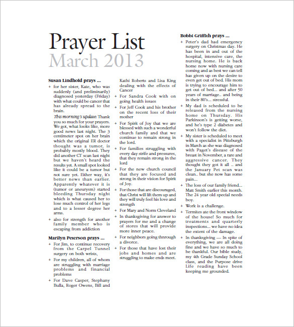 prayer list template   Kleo.beachfix.co