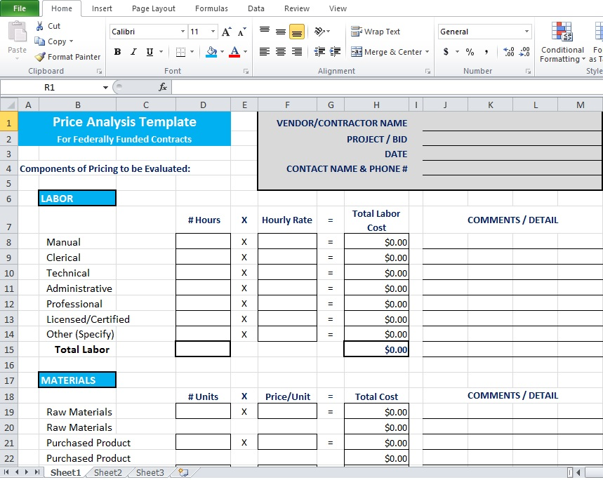 Price Comparison and Analysis Excel Template for Small Business