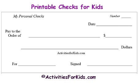 Printable Blank Checks, Check Register for Kids   Cheques