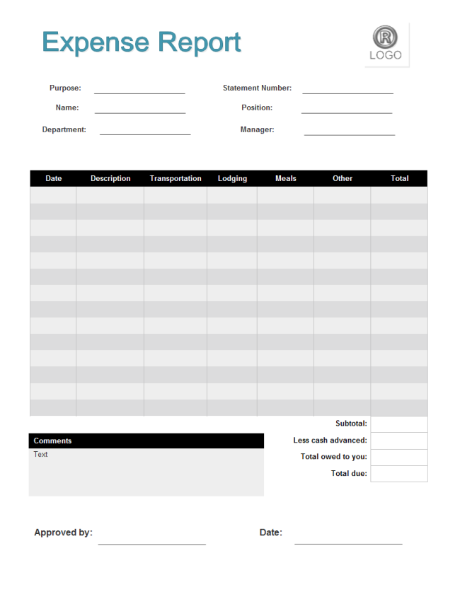 Printable Expense Report | charlotte clergy coalition