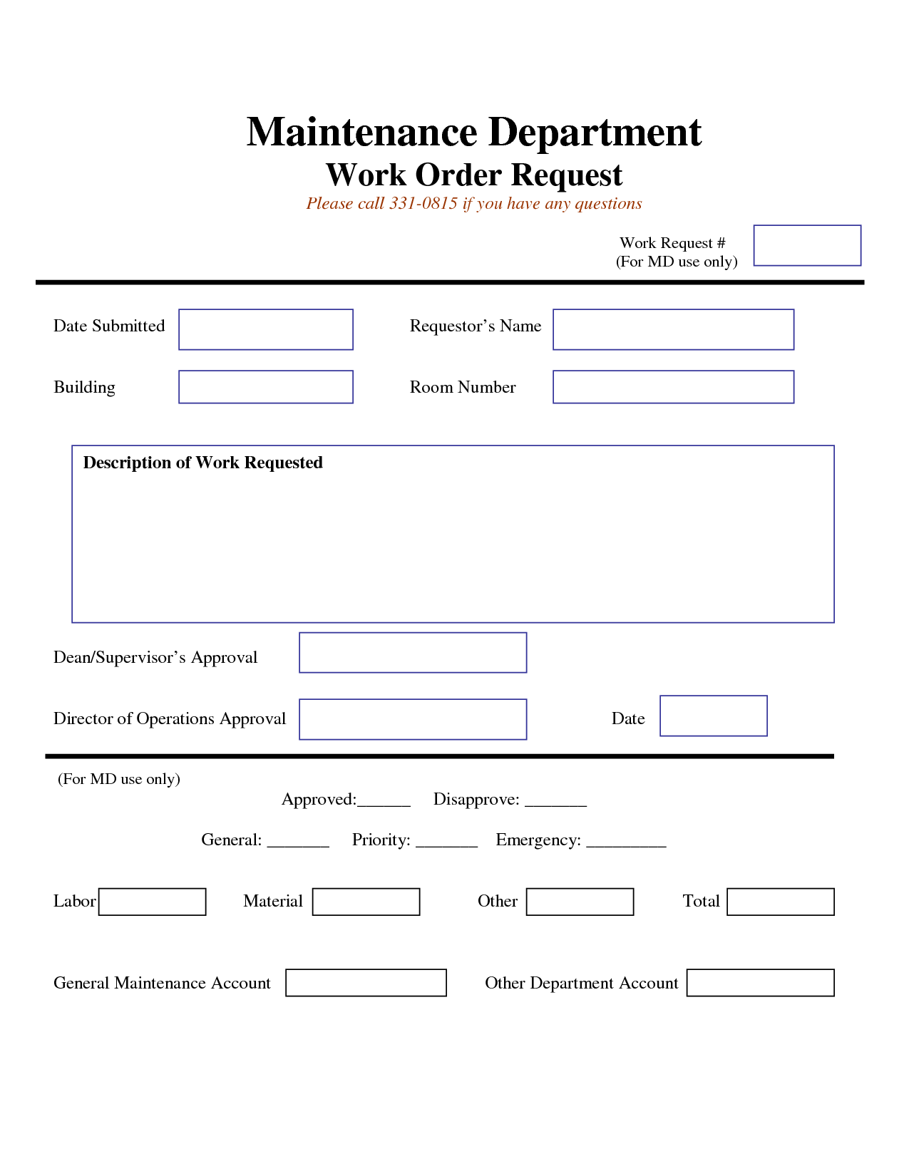 work request form | Maintenance Work Order Request Form | work
