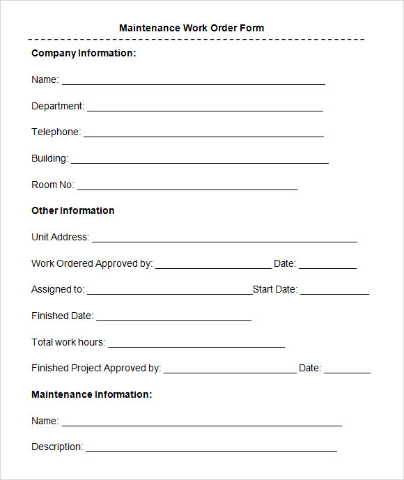 8+ Sample Maintenance Work Order Forms | Sample Templates