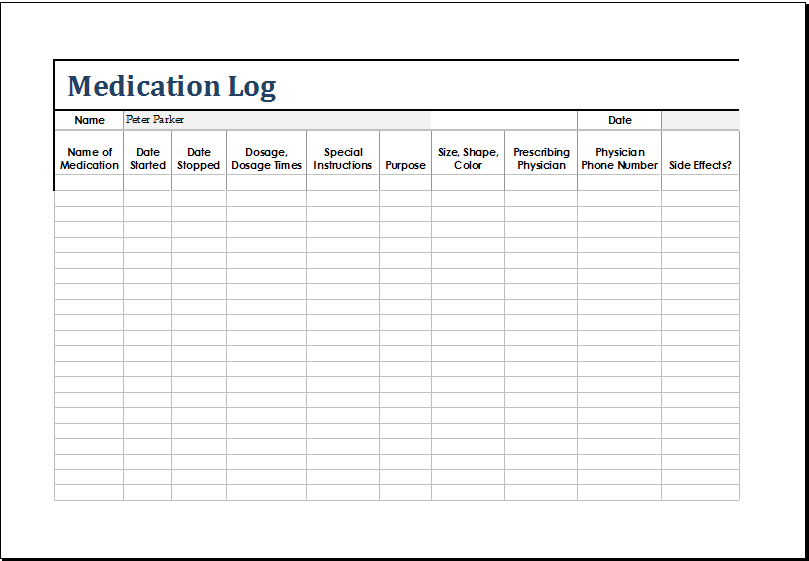 Medication Log   OpenOffice template