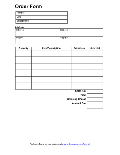 food order form template sales order form order form free