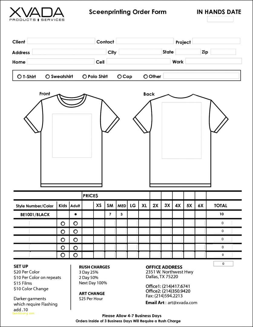 T Shirt Order Forms Template Free Boat.jeremyeaton.co