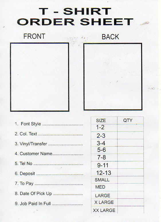 Printable T Shirt Order Form Template | charlotte clergy coalition