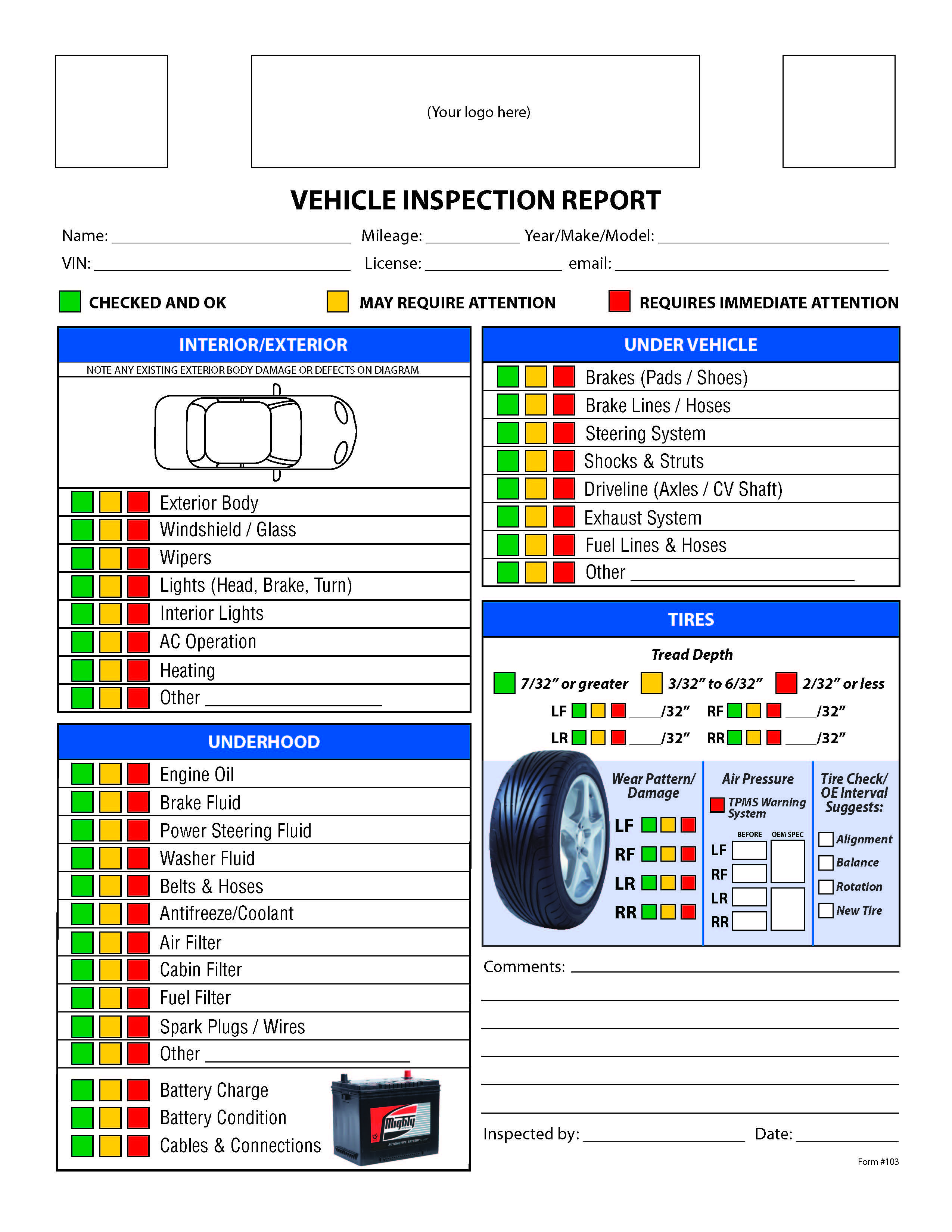 Free Vehicle Inspection Checklist Form | Good to know | Pinterest