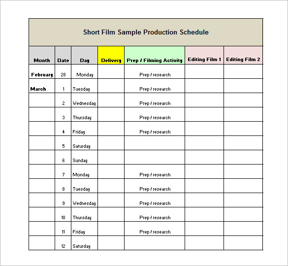 Production calendar template charlotte clergy coalition a quick guide to planning your pre production schedule friedricerecipe Choice Image