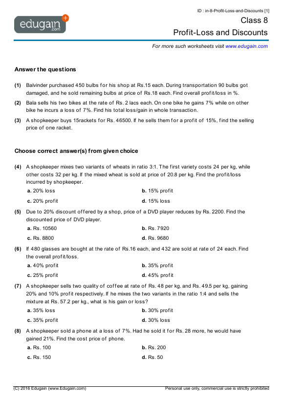 Profit And Loss Worksheet Brilliant Worksheet On Profit And Loss