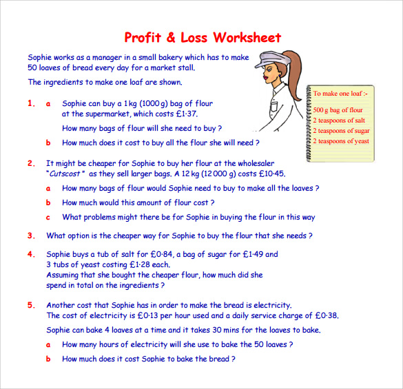 Profit or Loss Worksheet by pandarose   Teaching Resources   Tes