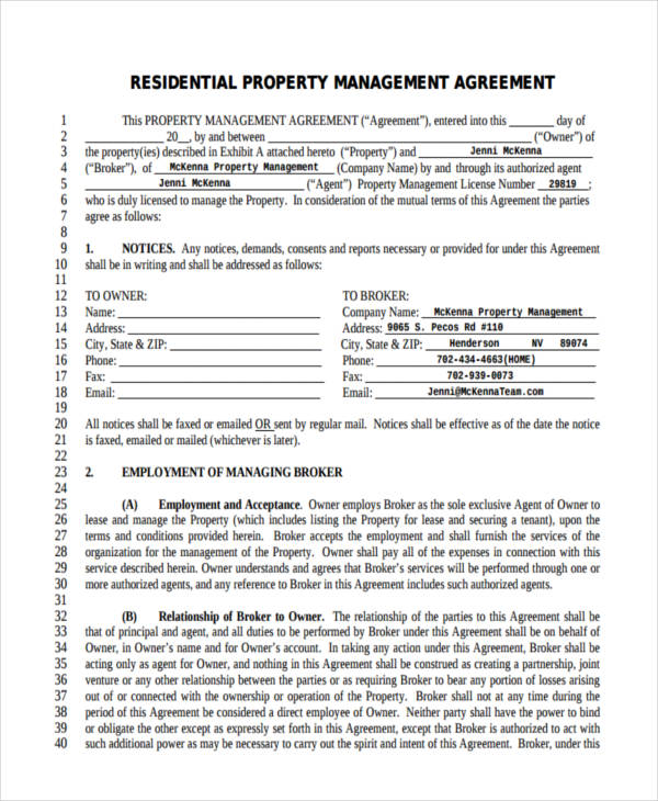 property management agreement doc Forms and Templates   Fillable
