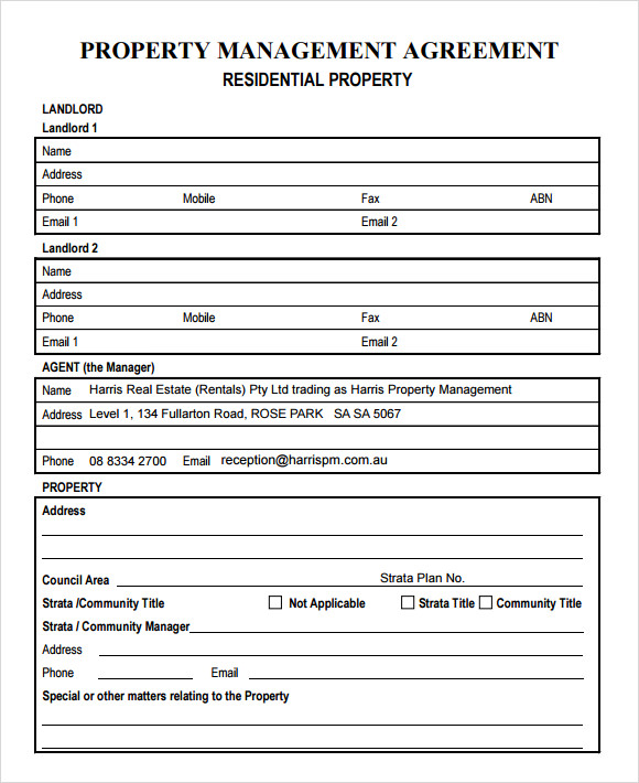 Property Management Agreements Templates Charlotte Clergy Coalition