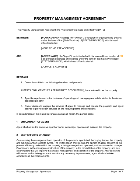 business management contract template free property management