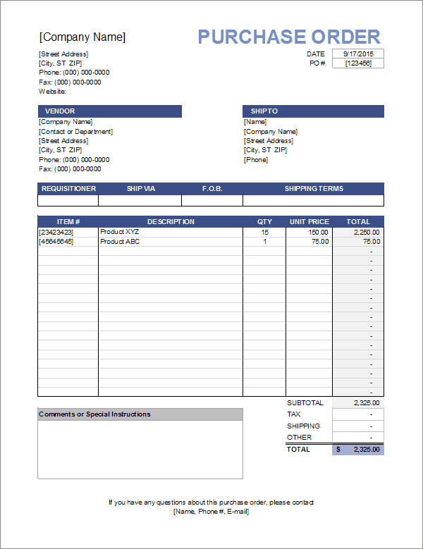 Purchase order template.