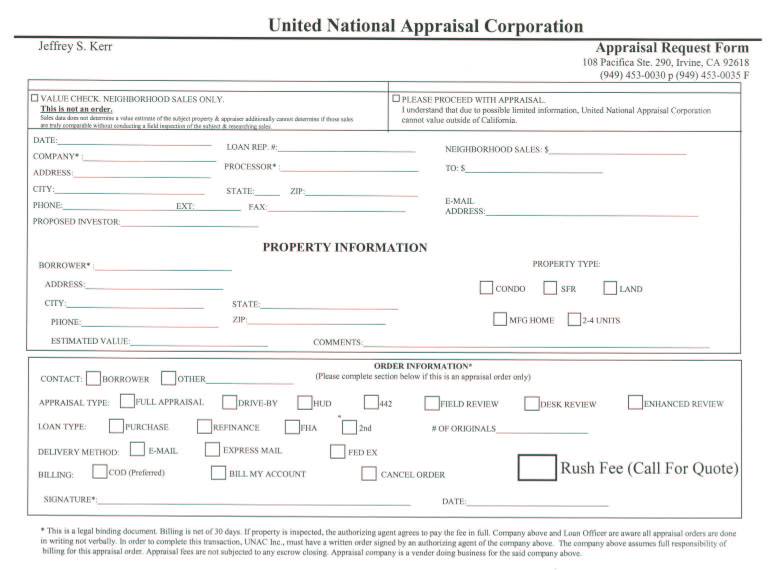 Real estate appraisal services offered by United National