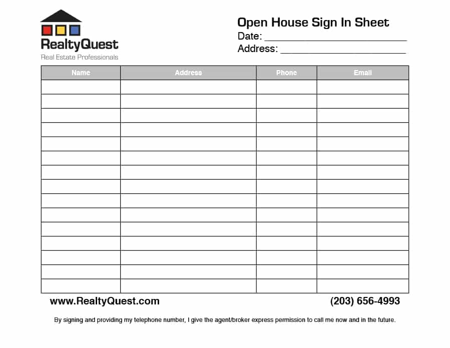 realtor printable | realtor open house sign in sheet printable