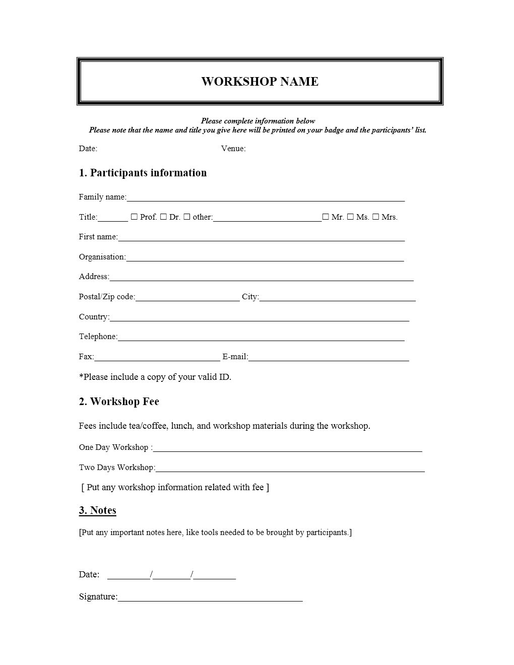 Registration Form Template Word | charlotte clergy coalition