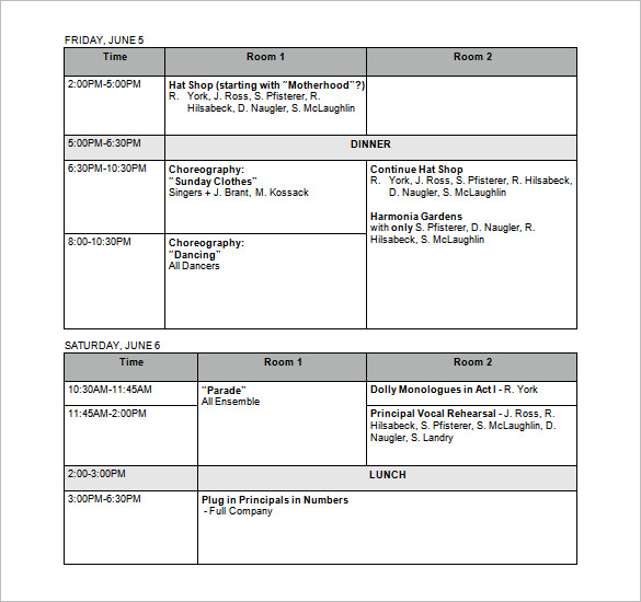 Rehearsal Schedule Templates – 13+ Free Word, Excel, PDF Format