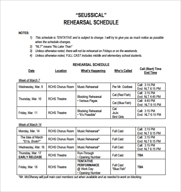 Rehearsal Schedule Template