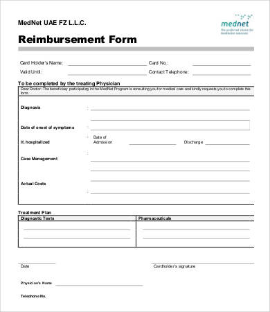 Free Reimbursement Form templates Word, Excel, PDF   Template Section