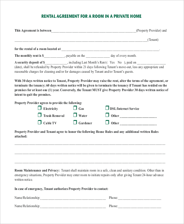 room rental agreement template word room rental agreement template