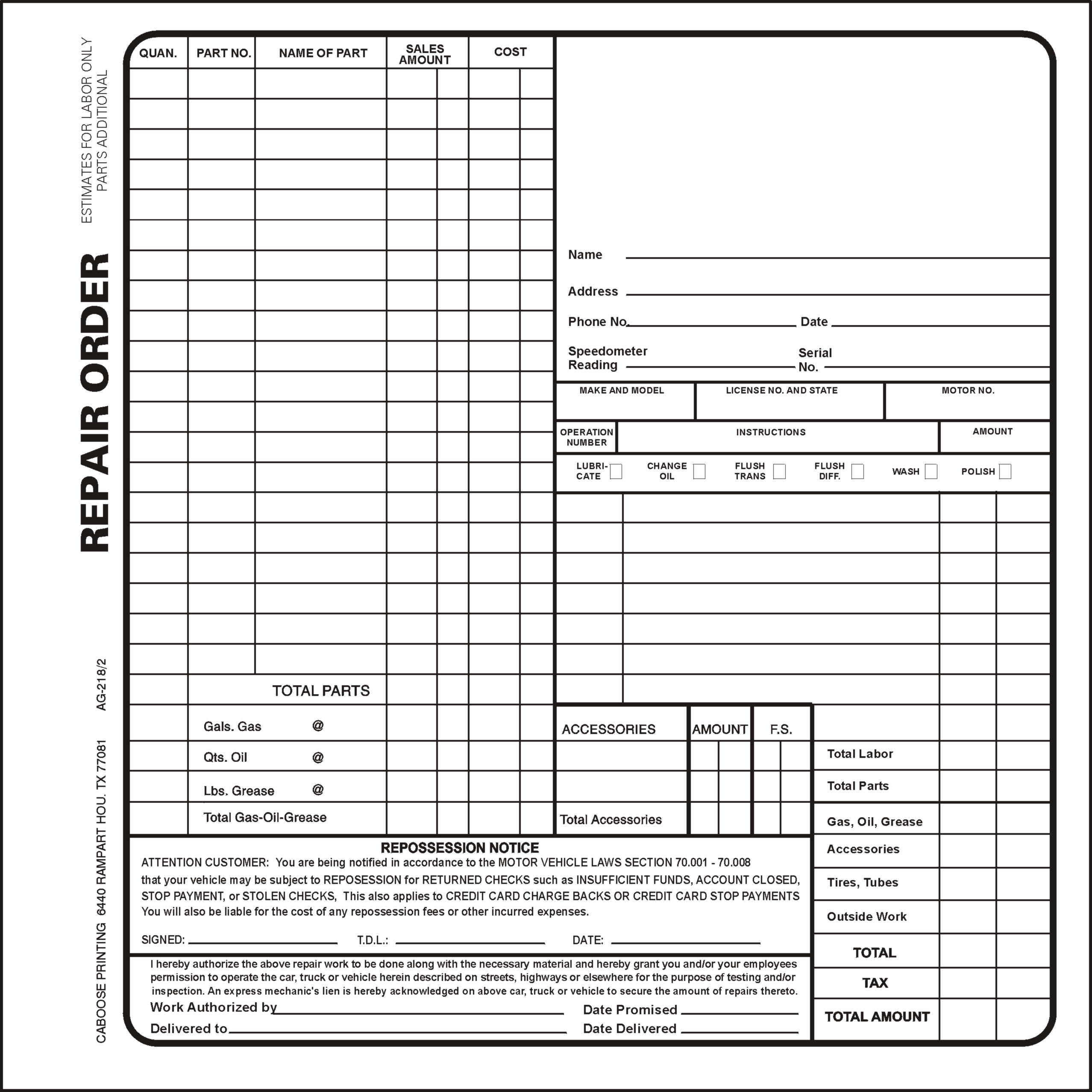 Repair Order Form – AG218/3 – package of 100 | Caboose Printing