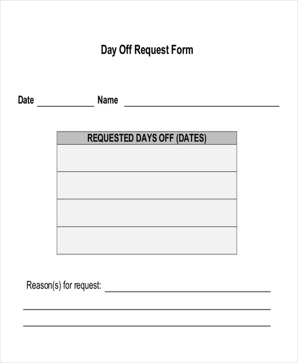 Time Off Request Form Word Zoroblaszczakco in Day Off Request Form