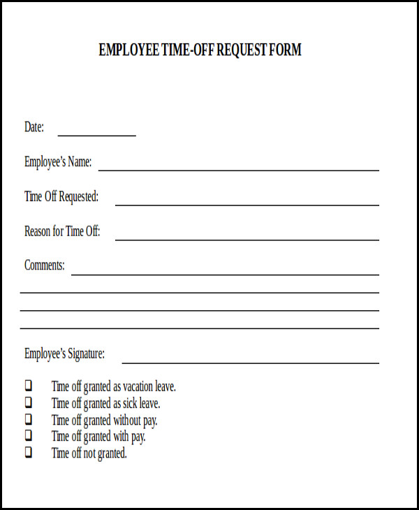 Use this form to request days off from your job. Includes spaces