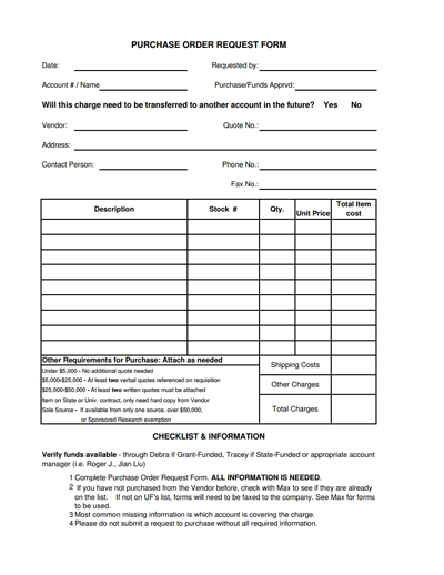 Purchase Order Request Form Template: Free Download, Edit, Fill