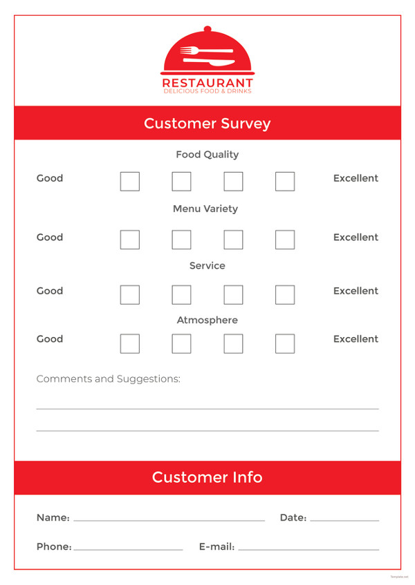 How to Make a Restaurant Comment Card   5 Templates | Free