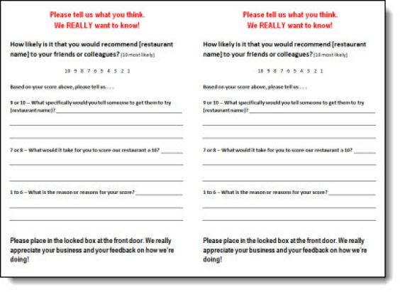 5 Restaurant Comment Card Templates   formats, Examples in Word Excel