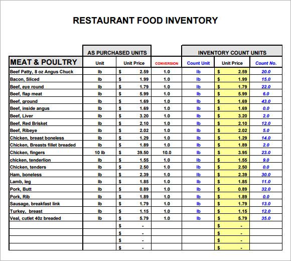 restaurant inventory sheet template   Boat.jeremyeaton.co