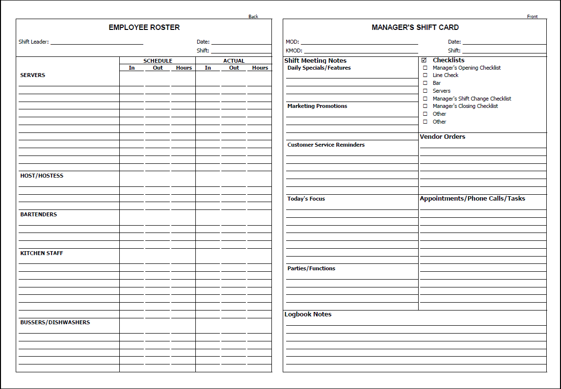 restaurant manager log book template charlotte clergy coalition