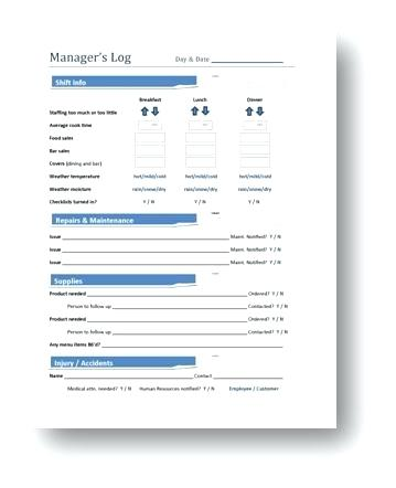 Restaurant Manager Log Book Template Images Of Tie Shift In