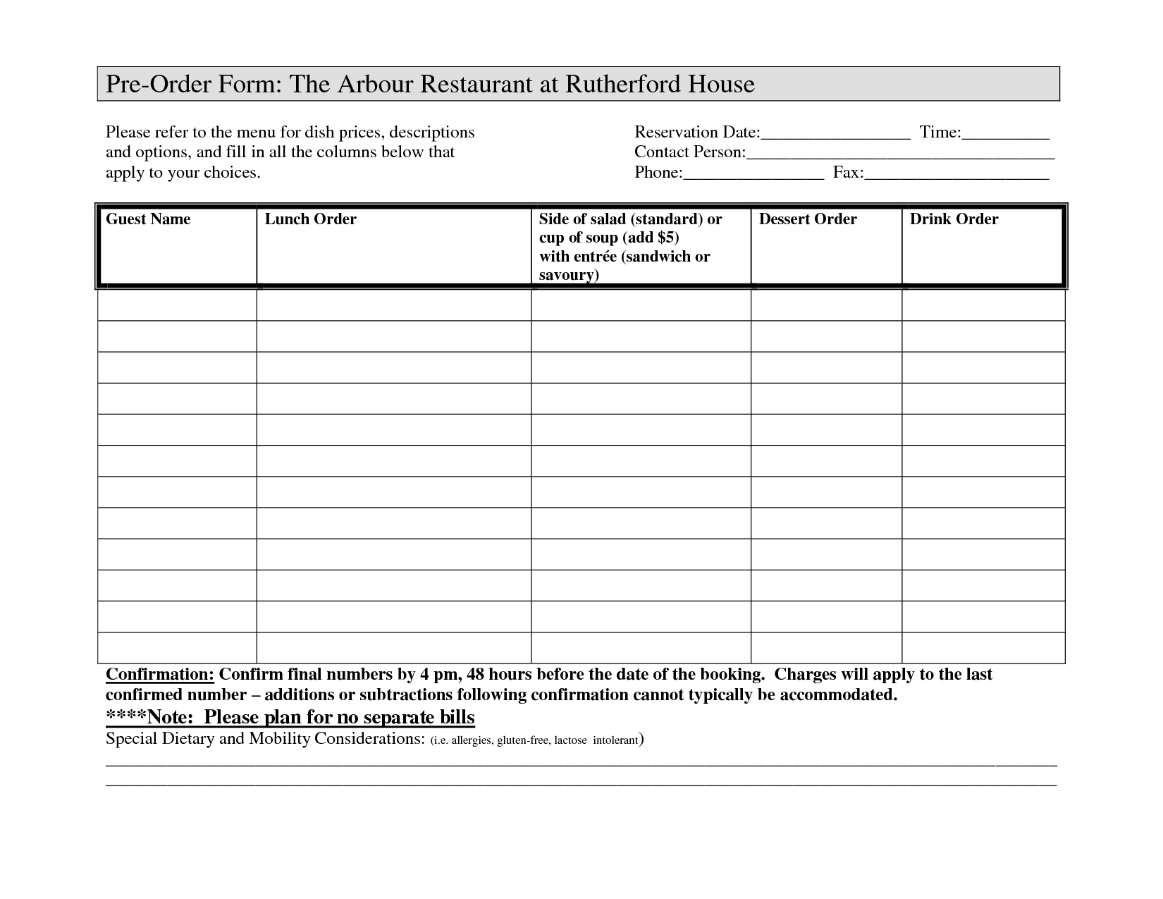 Restaurant Order Form Charlotte Clergy Coalition