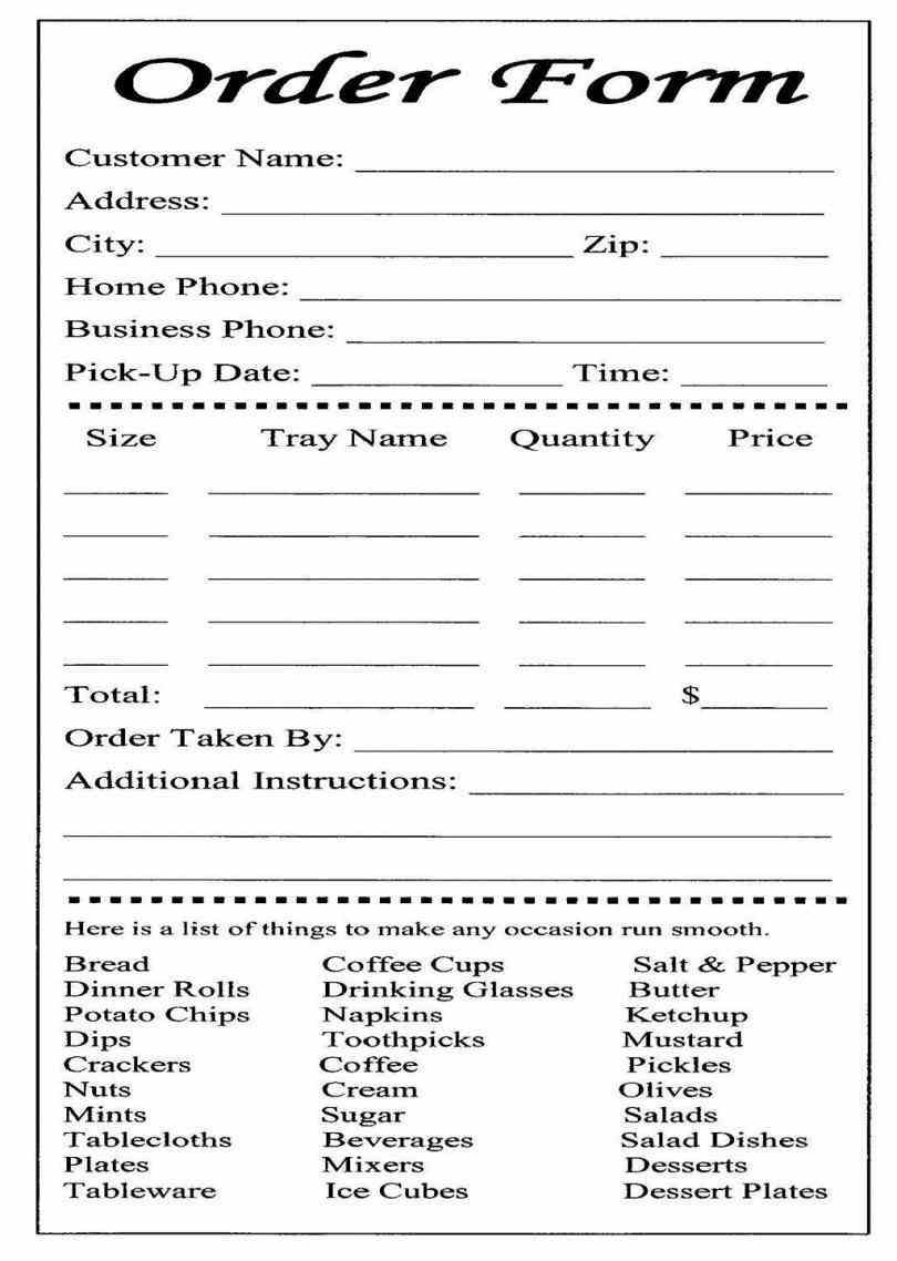 Restaurant Order Guide Form