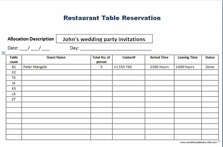 Restaurant Reservation List Template