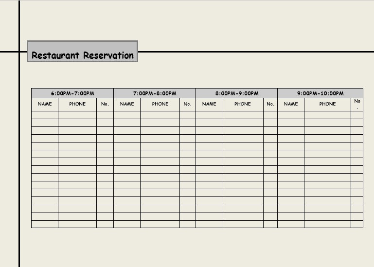 Restaurant Reservation Log Template DOWNLOAD FREE at http://